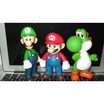 Mario Bros, Luigi, Yoshi Verde 3 Pack Figuras Pvc 13cm