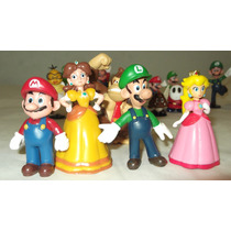 Super Mario Bros Set 18pzs Yoshi Sapo Peach Dinosaurio Goomb