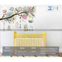 Vinil Decorativo Rama-i05 Árbol, Jaulas, Pájaros Y Flores.