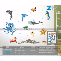 Vinilo Decorativo Infantil Animalitos-i 05 Acuario, Peces.