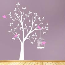 Vinilo Decorativo Árbol Con Pájaros Sticker Sala Recámara