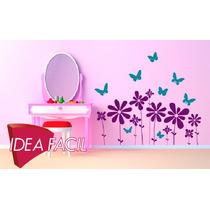 Vinilo Decorativo Infantil Flores Y Mariposas 100 B X 60 A