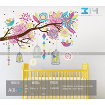 Vinilo Decorativo Árbol Infantil A(i)-57. Pájaros, Jaulas.