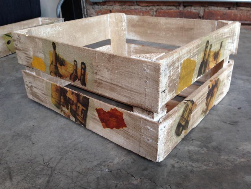 Vintage cajas de madera decoradas a mano diferentes - Cajas para cocina ...