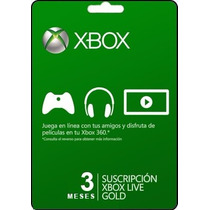 Tarjeta Gift Card Xbox Live Membresia 3 Meses Xbox 360 Y One