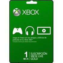 Tarjeta Gift Card Xbox Live Membresia 1 Mes Xbox 360 Y One
