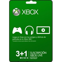 Tarjeta Gift Card Xbox Live Membresia 3+1 Mes Xbox 360 Y One