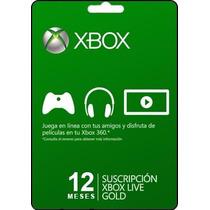 Tarjeta Gift Card Xbox Live Membresia 12 Meses Envio Gratis