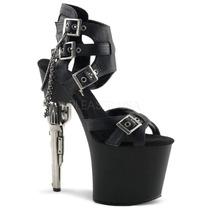 Zapatillas Sexy Negro Piel C/ Hebillas Bondgirl-726