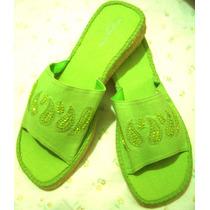 Sandalias Verdes Hermosas Para Vestir Con Decorado