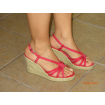 Sandalias Casuales Wedge Color Rojo