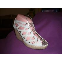Hermosos Zapatos Con Agujetas Y Plataforma Talla 4