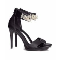 Hermosas Sandalias H&m, #24, Color Negro, Con Pedrería