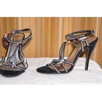 Sandalias Tipo Ante Color Negro Marca Anne Michelle 25.5