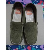 Comodos Zapatos Mocasines Damarichi 100% Gamuza Verde 4 Mex.