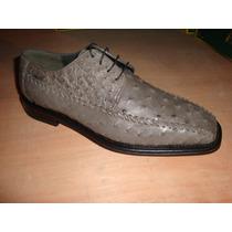 Zapato De Piel De Avestruz Color Gris