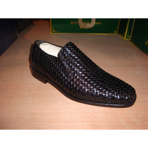 Zapato De Piel Tejido Negro