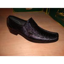 Zapato De Piel De Pata De Avestruz Y Dever Color Negro