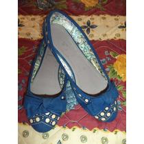 Zapatos Flats De Piso Via Imagina Azul Con Beige Dama 4 Mex