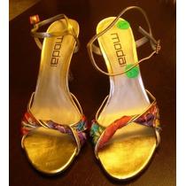 Hermosas Sandalias Españolas Color Oro Combinación Colores