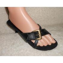 Lamax! Zapatillas Negras Abiertas Con Hebilla, Num 23