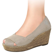 Zapatillas Dama Corte Textil Lona 7.5cms 141655 Sn1