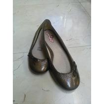 #1 Flats Piel Café Dorado Talla 3.5 Niña Dama Zapato Calzado