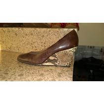 Zapatos De Piel Tacon Corrido Animal Print 7- 7.5 Mex