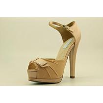 Betsey Johnson Puf Peep Toe Tela Plataformas Tacones Zapatos