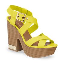 Sandalia Plataforma Amarillas Andrea 2282022 Piel Tacón 13cm