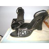 Zapatos Negro Punta Abierta Con Brillantitos Talla 3