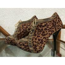 Remato Zapatos De Tacon Animal Print Talla 5 Mexicano