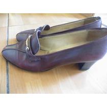 Gucci Made In Italy Zapatos Dama Color Vino De Piel 9.5 (usa