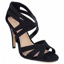 Zapatos Abiertos Negros Zapatillas Andrea Negras Tipo Gamuza