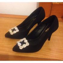 Zapatos Tipo Manolo Blanhik Negro) Talla 25 Mexicano