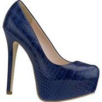 Oferta! Zapatillas Pumps Andrea De Piel Grabada Azul Marino