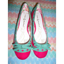 Zapatos Flats Joy & Peace Fiusha C/aguamarina 4 Mex P/dama