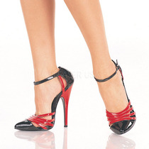 Zapatillas Negro C/ Rojo Charol Sexy Fetish Retro Domina-412