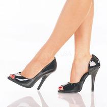 Zapatillas Negro Charol Elegante Sexy Gotico Seduce-212