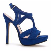 Zapatillas Sandalias Andrea Azules Tipo Gamuza Tacón Aguja