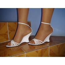 Sandalias De Piel Color Blanco Talla 25 Marca Paulina Mateos