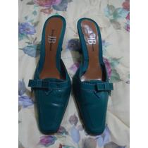 Zapatillas Jenny Buchanan Turquesa 100% Piel 3.5 Mex.