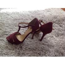Sandalias De Zara En Color Borgoña Talla 38 En $450