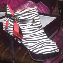 Lindos Botines Zebra Dama Americanas Num 9