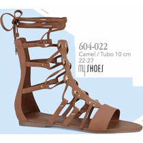 Sandalias My Shoes Gladiador Para Dama Color Camel V