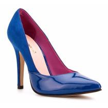 Elegantes Zapatillas Azules Andrea De Charol Con Tipo Gamuza