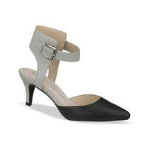 Zapatos Andrea 210-8360 Gris Con Negro Tacón Bajo De Piel