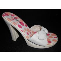 Andrea! Zapatos Blancos De Piel, Con Plataforma, Num 24 Mex