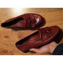 Zapatos Flats Mocasines Dexter Usa Piel Finisima Color Vino!