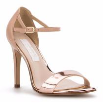 Elegantes Zapatillas Sandalias Andrea Oro Rosa Tacón Bajito